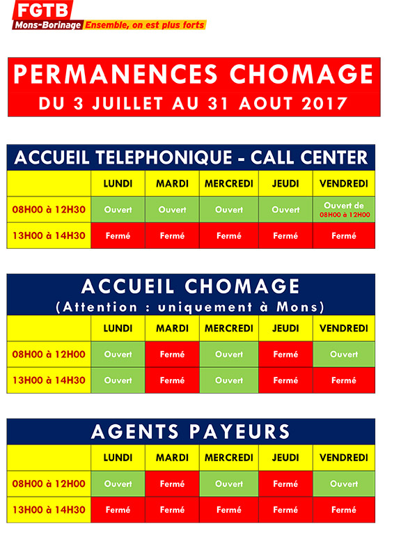 PERMANENCES CHOMAGE VACANCES 2017